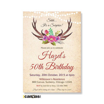 Watercolor Antlers Birthday Invitation, Rustic Woodland Party, Floral Antlers Milestone Birthday, Rustic Deer Antlers Woodland Invites 271
