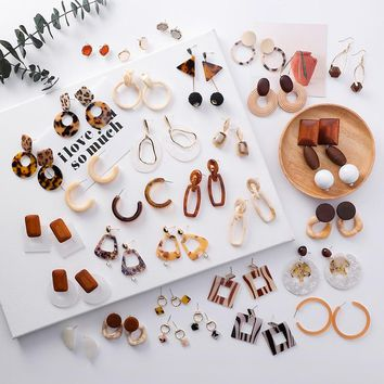 Simple Vintage Leopard Brown Color Acetate Acrylic Geometric Wooden Drop Earrings for Women Party Charm Jewelry Pendientes