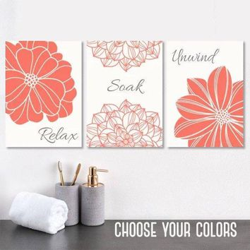 Bathroom Decor, Coral Gray BATHROOM Wall Art, CANVAS or Print Bath Decor, Bathroom Quotes, Relax Soak Unwind, Bathroom Wall Decor, Set of 3