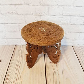 Vintage Round Ornate Carved Wood Mini Table Plant Stand