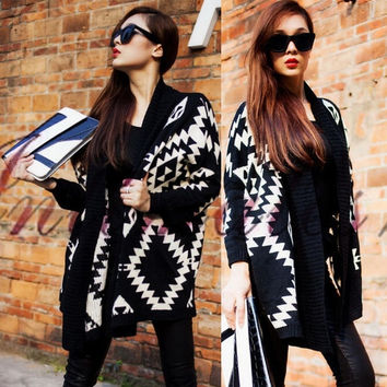 Women Long Sleeve Knit Tribal Aztec Print Open Wrap Front Cardigan Sweaters Tops = 1920305540