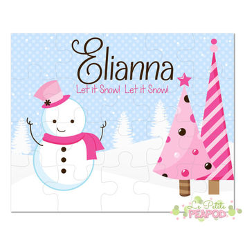 "Snowman Puzzle - Personalized 8"" x 10"" Puzzle - 20 or 100 pieces - Christmas Snowman Puzzle - Personalized Name Puzzle"