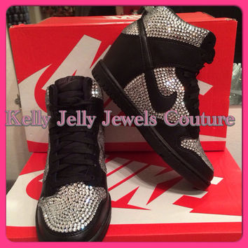 Partially covered Nike Sky High Dunks Silver Swarovski Diamonte   Diamante  Unique trendy Wedding Prom 97dcb9c0a0