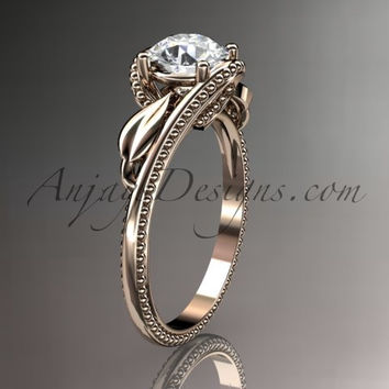Unique 14kt rose gold engagement ring ADLR322