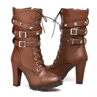 Lace Up Platform Ankle Boots up to Size 10.5 (26.5cm EU 43)