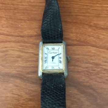 vintage cartier tank watch 17 Jewel Movement. Electro Plated