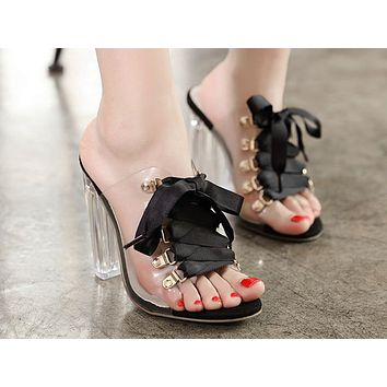 Fashion women's Sandals New open-toed lace crystal thick super high-heeled slippers