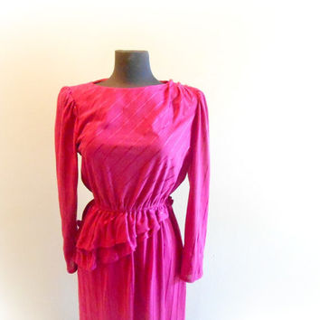 Hot Pink Dress Secretary Party Asymmetrical Stripe Long Sleeved Dress Womens Size M / L