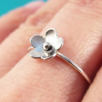Sterling Silver Flower Ring, Dainty Flower Ring, Silver Flower Jewelry, Silver Floral Jewelry, Simple Flower Ring, Cherry Blossom Ring