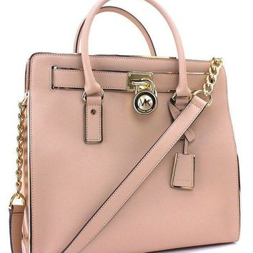 ESB2N Michael Kors Hamilton Specchio N S tote Oyster Gold Bag New Tagre-