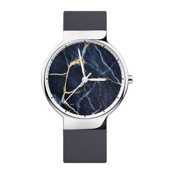 Blue Marble Watch,  Mens Watch, Women Watches, Minimalist, Jewelry, Modern, Gift, Simple, White Silicone Strap