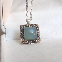 Square Pendant Chalcedony Gemstone Necklace Sterling Studded Detailing Genuine Blue Green Altered Vintage