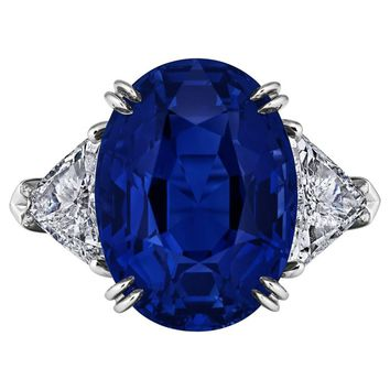 Harry Winston 10.53 Carat Natural Oval Sapphire Diamond Platinum Ring