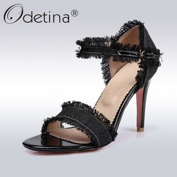 Odetina 2018 New Fashion Summer Peep Toe Denim Sandals For Women Stiletto High Heels Female Ankle Strap Party Shoes Plus Size 45