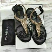 Chanel : The T type braided belt clip toe Beach Resort all-match fashion leather flat sandals