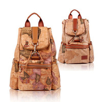 Designer Map Leather Backpacks for Both Women and Men Travelling Bags Free Shipping 2014 New-in Casual Daypacks from Luggage & Bags on Aliexpress.com
