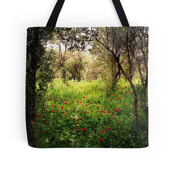 Green bag, green tote, nature tote, nature bag, market bag, shopping bag, grocery bag, toy bag, book tote, pretty bag, shopper, poppies bag
