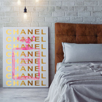 24x36 large Chanel canvas,Printed, chanel print, Chanel wall,coco chanel, chanel no5 canvas, gold foil effect, gold, no5 art, hot pink, pink
