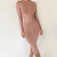 Ruslana- Turtleneck Long Sleeve Bandage Dress