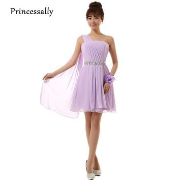 Vestido De Festa New Lilac Bridesmaid Dress Short Chiffon One Shoulder Beading Waist Cheap Prom Party Gown Chinese Store Online