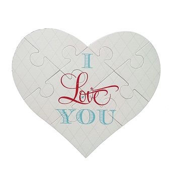 I Love You Heart Puzzle Greeting Card