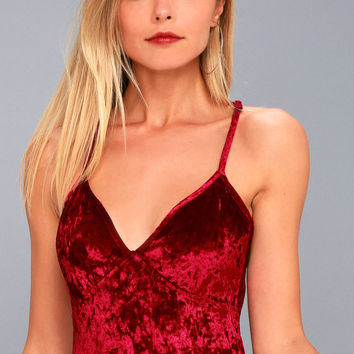 Beautiful Dream Wine Red Velvet Bodysuit