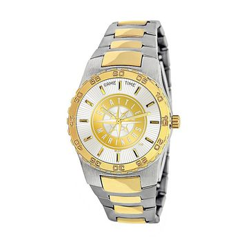 Game Time Executive Series Seattle Mariners Two Tone Stainless Steel Watch - MLB-EXE-SEA - Men (Silver/Gold)