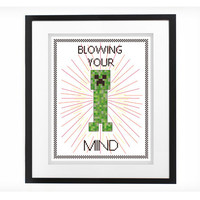 Minecraft Creeper - Blowing Your Mind - Counted Cross Stitch Pattern - Instant Download