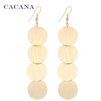 Beautiful Round With Twill Dangle Long Earrings For Women