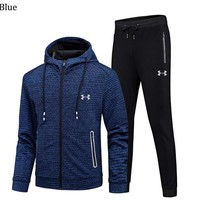 Under Armour Autumn and winter sports and leisure cardigan Hooded men's sweatpants two-piece blue