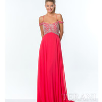 Terani 151P0025 Dark Coral Off the Shoulder Long Embellished Dress 2015 Prom Dresses