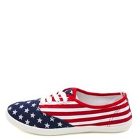 Flag Print Lace-Up Canvas Sneakers by Charlotte Russe - Red Combo
