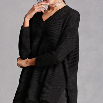 Ribbed V-Neck Dolman Sweater