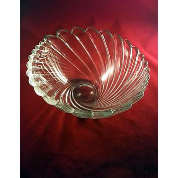 Heavy Large Clear Lead Crystal Swirl Serving Bowl, Crystal Bowl
