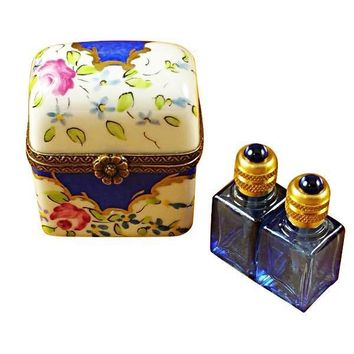BLUE FLOWERS W/2 BLUE BOTTLES LIMOGES BOXES
