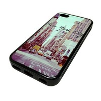 Apple iPhone 5C 5 C Case Cover New York City Street View Vintage DESIGN BLACK RUBBER SILICONE Teen Gift Vintage Hipster Fashion Design Art Print Cell Phone Accessories