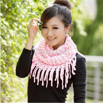 2018 Fashion Women Scarves Autumn Winter Warm Knit Wool Snood Scarf Cowl Neck Circle Shawl Wrap Ring Scarf 10 Color Gift Femme