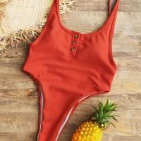 Buttons Ribbed Open Back High Cut Swimsuit