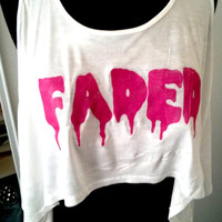 Pink FADED Maryjane weed Smoke Drippy letter white crop top