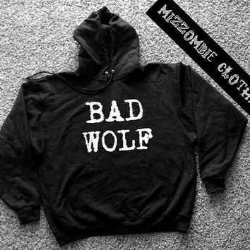BAD WOLF  Hoodie hooded sweater grunge goth alternative punk horror  wolves