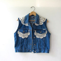 80s blue jean vest. sleeveless jean jacket. lace denim vest.