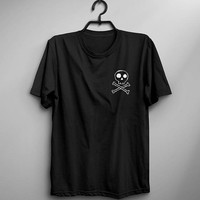Skull and crossbones T shirt grunge goth clothing gift women graphic tee halloween skeleton shirts cute shirt