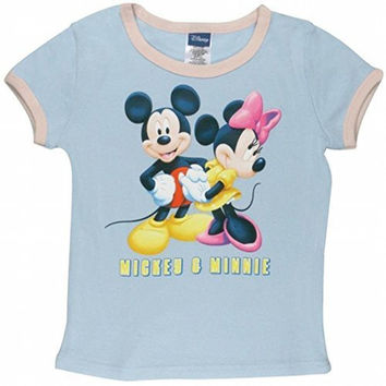 Disney - Mickey & Minnie Girl's Ringer T-Shirt