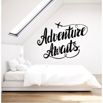 Vinyl Wall Decal Adventure Awaits Motivation Quote Airplane Stickers (3338ig)