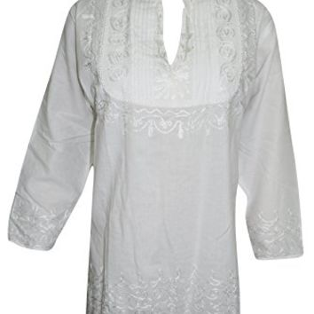 Mogul Interior Womens Blouse Summer In The City White Hand Embroidered Elegant Tunic Top Cover Up