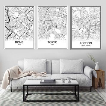 Retro Paris France city map Kraft Paper Poster vintage Living Room Wall Art Crafts Sticker Bar Cafe Design Free ship 53x38cm