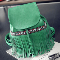 Green Tassel Backpack