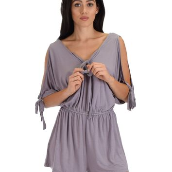 SL5103 Lilac Cold Shoulder Romper With Neck Strap Ad Sleeve Ties
