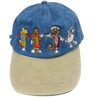 90s Dad Hat, Vintage Denim Cap Embroidered Hershey Park Chocolate World Candy Bar Characters Bar None Reeses Hersheys Kiss, Hip Hop Headwear