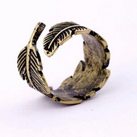 Retro Simple Feather Adjustable Rings AnaeCadeau Gift-199